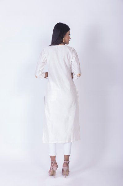 White Chanderi Kurta