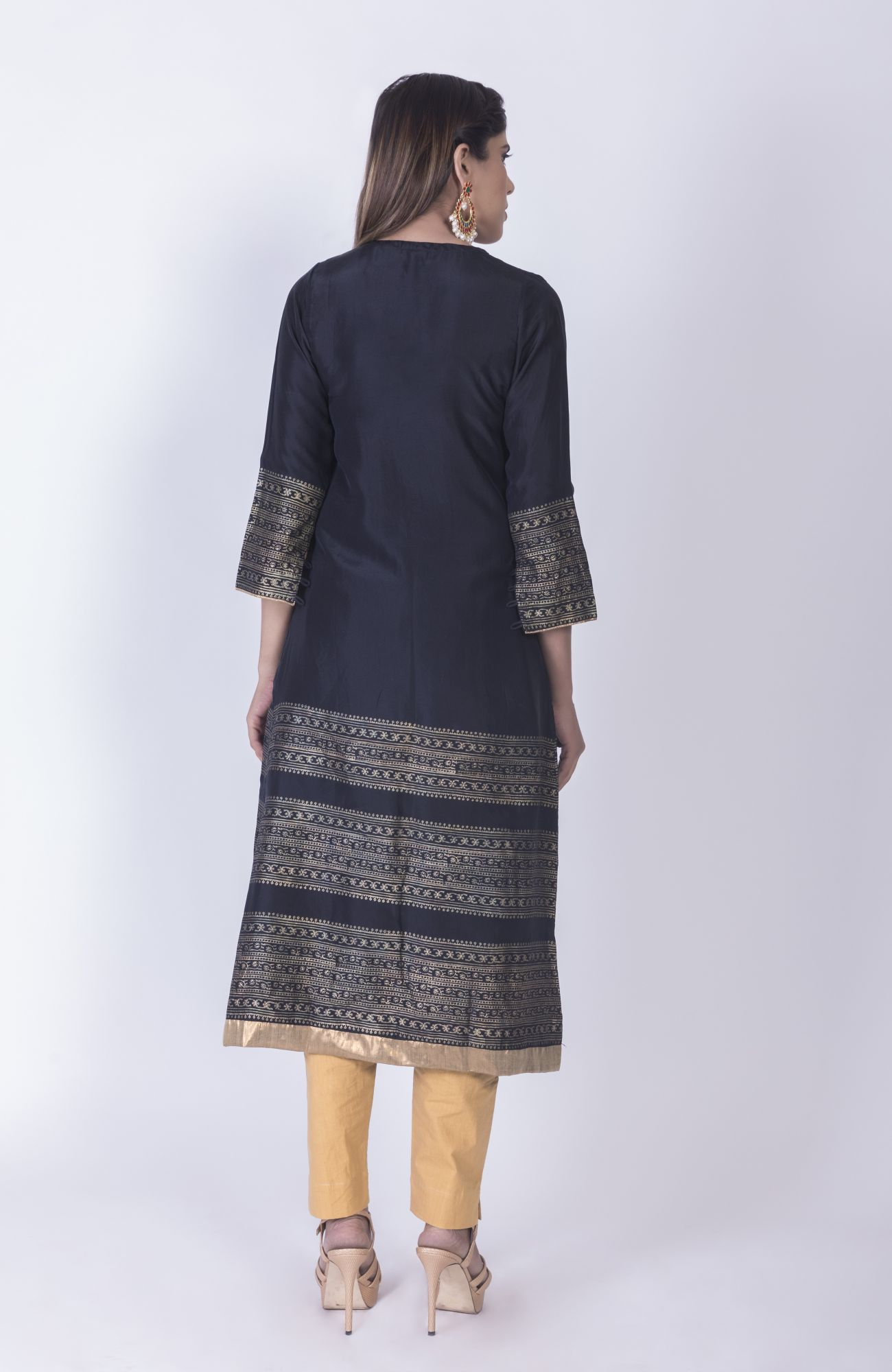Black Pleated Kurta