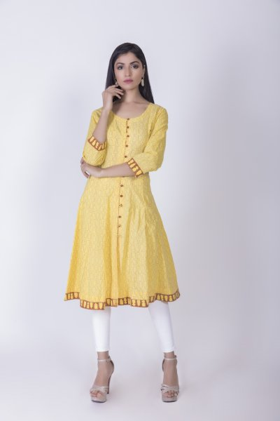 Yellow Mehrab Kurta