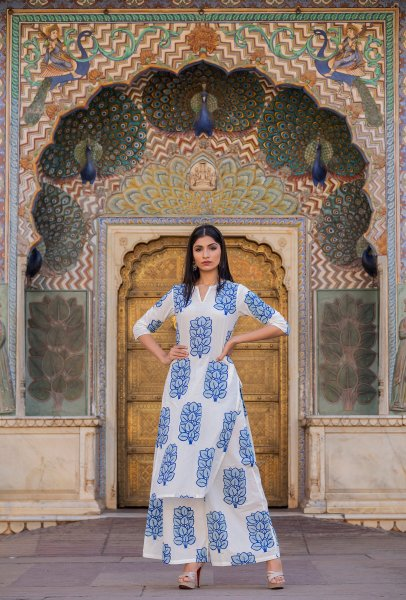 Blue Block Print Kurta And Pant