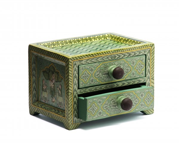 Wooden drawer green small