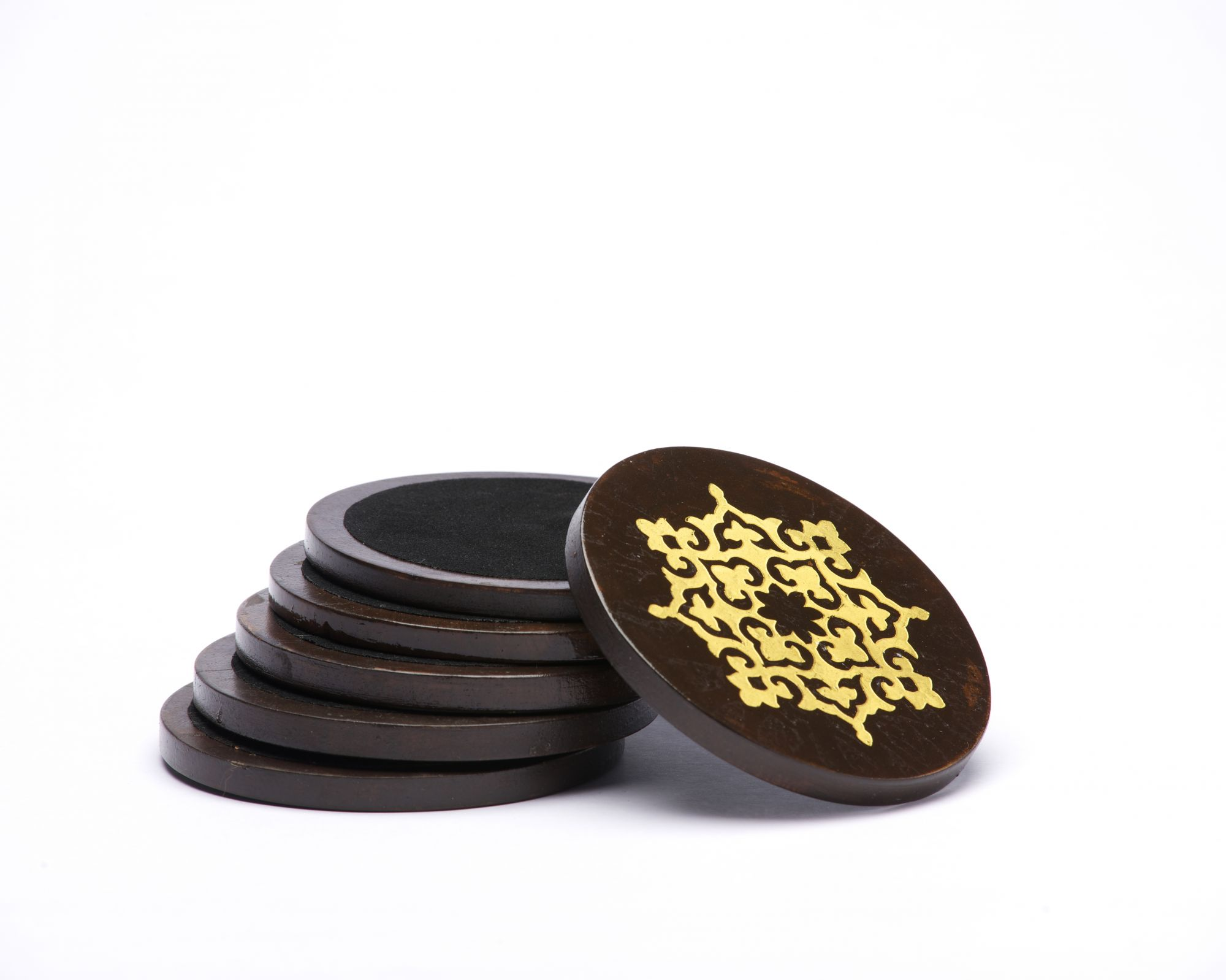 Gold Leafing Wood Coasters