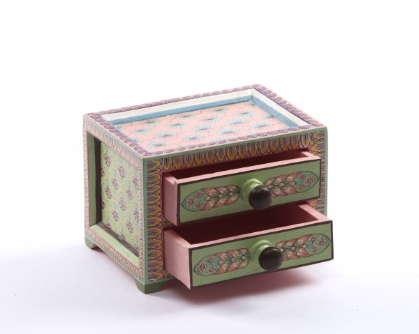 Wooden drawer green pink small