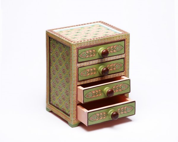 Wooden drawer green pink big