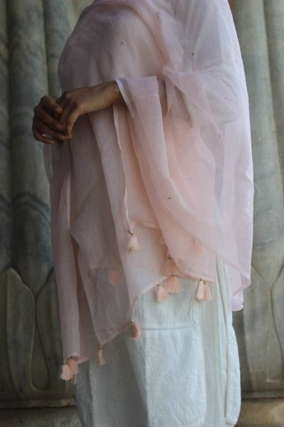 Sequin Dupatta - Blush