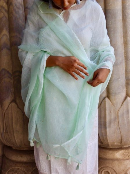Sequin Dupatta- Mint Green
